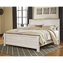 Signature Design Willowton Whitewash Wood King Panel Bed by Ashley