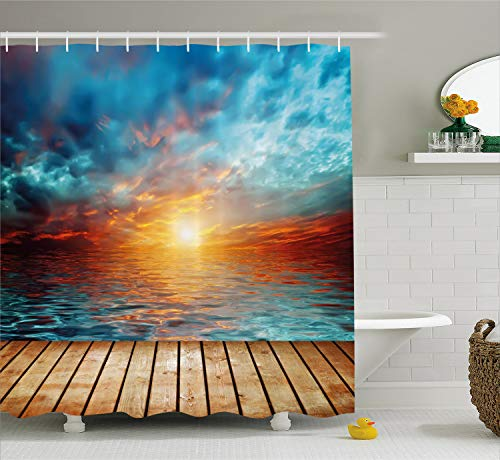 Ambesonne Ocean Shower Curtain, Dramatic Sunset Over The Sea Twilight Scenery Beach Skyline Coast Photo, Fabric Bathroom Decor Set with Hooks, 75 Inches Long, Aqua Orange Light Brown