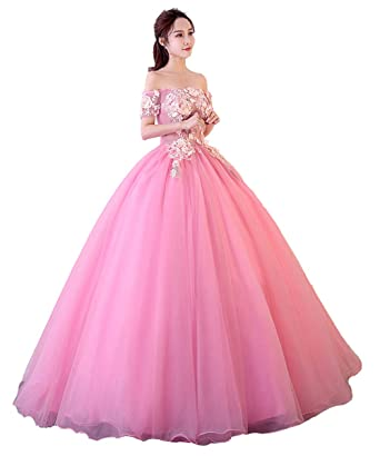 b8396eb3b8a Okaybrial Women s Quinceanera Dresses Pink Off Shoulder Semi Opaque Top Appliques  Ball Gown Tulle Sweet 16 Dresses at Amazon Women s Clothing store
