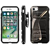 [Mobiflare] Armor Phone Case for iPhone 8 / iPhone 7 [Black/Black] Blitz Armor Phone Cover with Holster - [Hockey Stick]