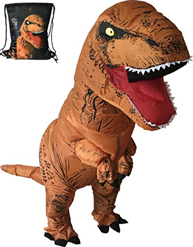 Adult Trex Costumes (Luckysun Adult T-REX Dinosaur Inflatable Costume Suit Packed with exclusive drawstring bag)
