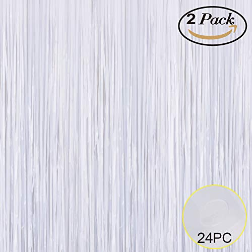 (Foil Fringe Metallic Curtain Backdrops - with Balloon Sticks 3.3FTX6.6FT Tinsel Shiny Curtains Perfect for Photo Booth Party/Window/Door Decorative Fringe Curtains (Pack of 2) White)