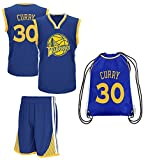Fan Kitbag Steph Curry Jersey Kids Basketball Curry Jersey & Shorts Youth Gift Set ✓ Premium Quality ✓ Basketball Backpack GIFT PACKAGING ✓ (YM 8-10 Yrs Old, Curry Jersey Gift Set)