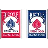 """Bicycle 2 Deck Set Poker Size 3.5"""" x 2.5"""" Jumbo Index Playing Cards, 1 Red 1 Blue deck"""