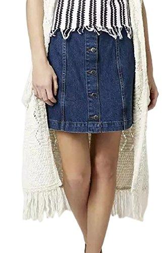 Simgahuva Femmes Jupe en Jean Taille Haute, Mini - Jupes Devant Une Ligne - Bouton Blue