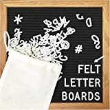 Blcak Felt Letter Board 10x10 Inches. Changeable Letter Boards Include 300 White and Emojis, Months & Days Cursive Words, Christmas Words and Emojis