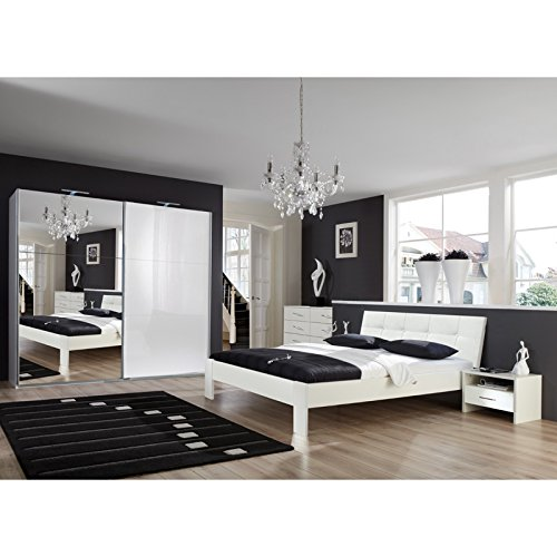 Komplett Schlafzimmer Hochglanz weiß 160cm Futonbett Kleiderschrank Nachttische