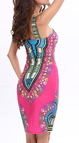Sexy Womens Red Tribal Rose Cromoncent Backless Bandeau Skinny Printed Dress Africa OZxwq56w