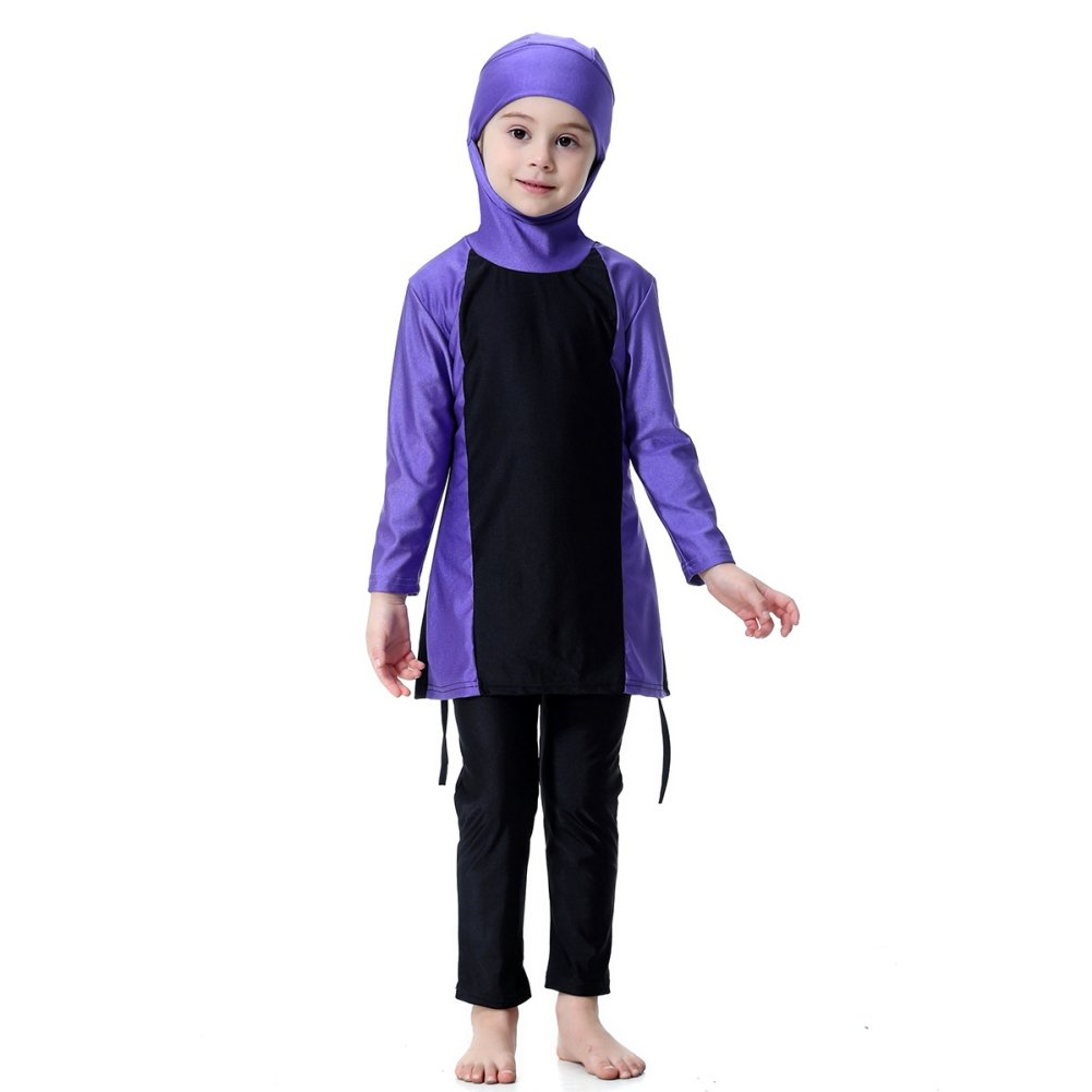 Blaward Muslim Swimwear for Kids Girl Long Sleeve Islamic Modesty Swimsuit 3PCs for Children Tranditional Burkini for Baby Girls