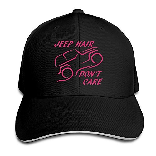 Price comparison product image Jeep Hair Don't Care Adjustable Sandwish Baseball Caps Black