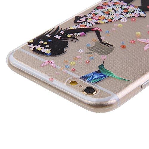 Ekakashop Apple iphone 5c Weiche Silikon TPU Gel Hüllen, Neueste Bunte schöne Schutzhülle Schale Durchsichtig mit Rosa Blume Schmetterling Mädchen-Serie Muster Backcover Rückseite Fall für iphone 5c,