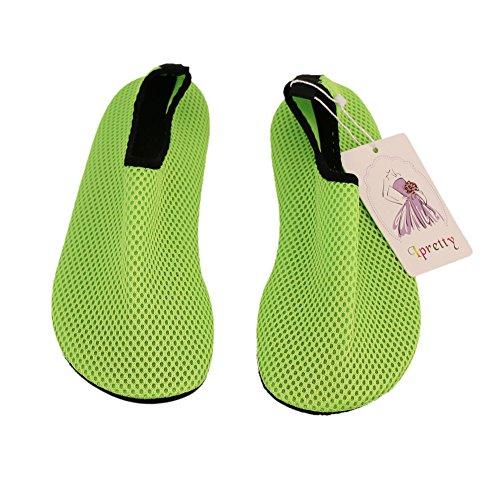 iPretty unisex Erwachsene Barfußschuhe hautfreundlichen Plus Size Badeschuhe für Damen und Herren Rutschfeste Strandschuhe Surfschuhe Leicht Weich Bequem Dance Yoga Fitnessschuhe Grün