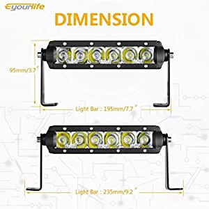 LED Light Bar, Eyourlife 2PCS 30W Single Row Cree LED Light Bar Spot Flood Combo for Off Road SUV ATV Jeep Cabin Boat ,2 Years Warranty
