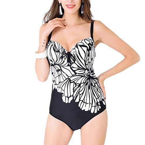 Traje de baño de las señoras Moda siamés impresión traje de baño de gran tamaño FD81639 Bikini Negro
