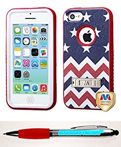 Accessory Factory(TM) Bundle (the item, 2in1 Stylus Point Pen) APPLE iPhone 5C Stars-wave Red VERGE Hybrid Protector Cover (with Stand)