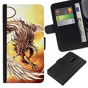 LECELL--Cuero de la tarjeta la carpeta del tirón Smartphone Slots Protección Holder For LG G3 -- Águila guerrera --