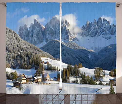Ambesonne Apartment Decor Collection, Mountain Village Scenery in Winter with Snow Peaks Northern Zone Spot Alps Photo, Living Room Bedroom Curtain 2 Panels Set, 108 X 90 Inches, White Blue Green