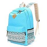 Canvas School Bag, School Backpack for Girls,Casual Lightweight Laptop Bag, Teen Girls Backpacks (Blue)