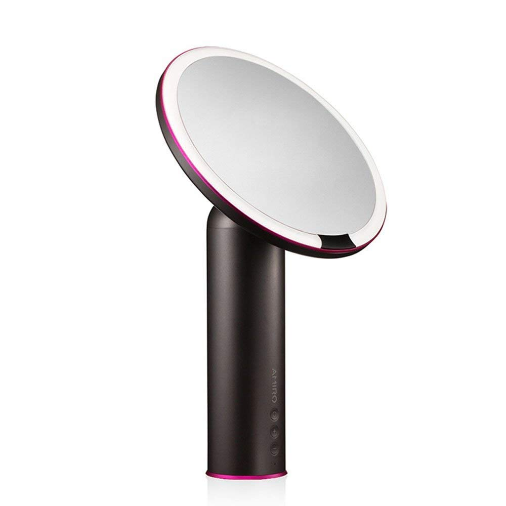 Amiro Smart Lighted Makeup Mirror with Natural Daylight LED Lights, Motion Sensor, Adjustable Brightness, Rechargeable and Cordless, High Definition Countertop Vanity Mirror, Black