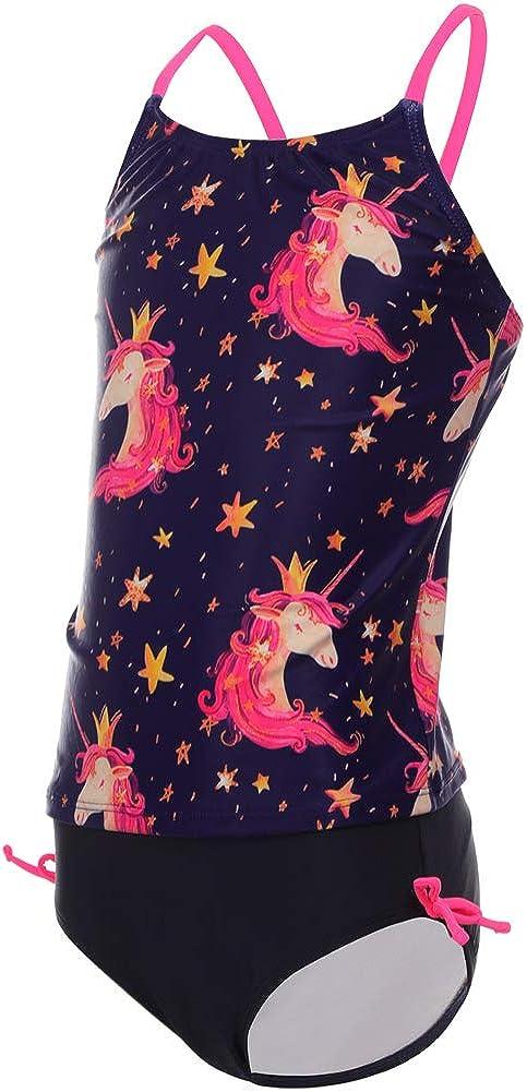 DUSISHIDAN Kids Girls Swimsuits Cute Rainbow Unicorn Two Piece Tankini Sets Bathing Suits