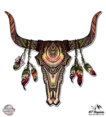 cd3879a8398 Bull Skull with Feathers Native American Theme - 3 quot  Vinyl Sticker -  For Car Laptop