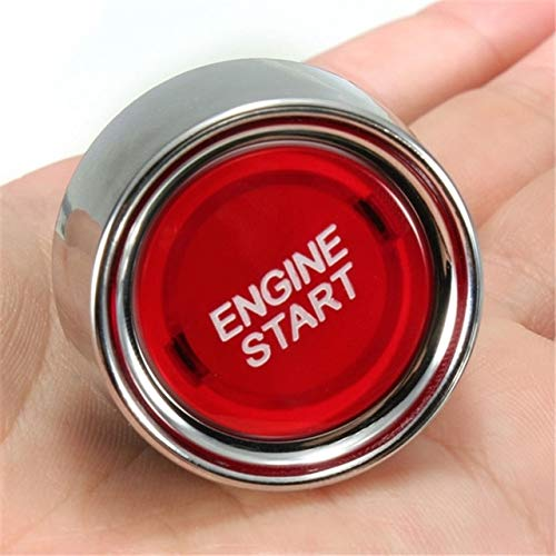 Cocas 12v LED Light Motor Car Keyless Engine Starter Ignition Button Key Push Start Button Switch Replacement Enginee Start Universal - (Color: Red)