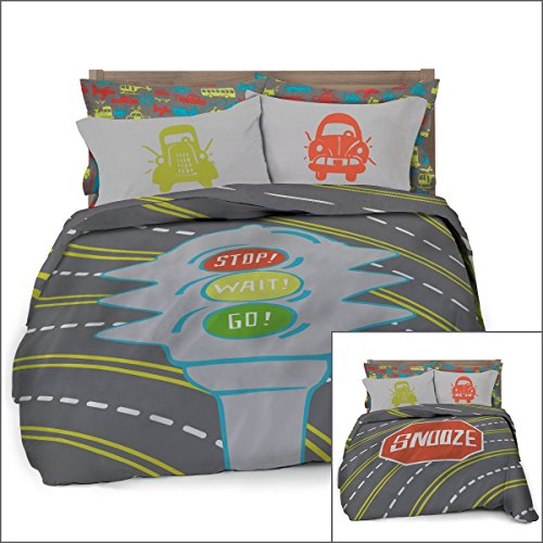 Full/Queen Transportation Duvet Cover Set with 2 Pillowcases for Kids Bedding - Double Brushed Ultra Microfiber Luxury Set By Where The Polka Dots Roam (L 90in x W 92in)