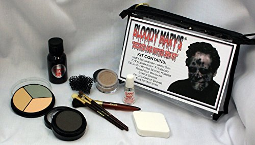 Decayed Rotted Skin Special Effects Makeup Kit By Bloody Mary – Halloween Costume SFX Makeup – FX Foundation Blood, Eye Shadow, Setting Powder, Stipple Application Sponge, 4 Brushes Spirit Gum