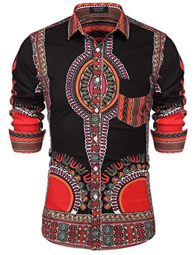 16e7d12d8ce85e JINIDU Mens Fashion Dashiki Shirt Tribal Floral Printed Causal Top Black