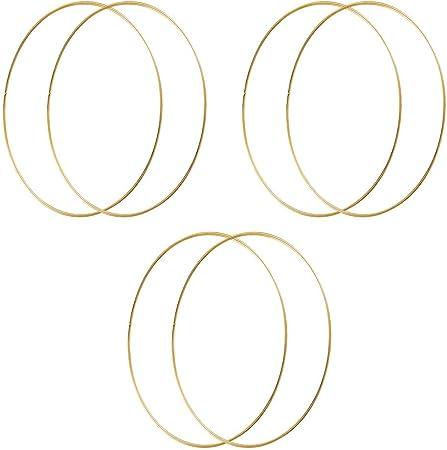 Facibom Wreath Rings,12 Pack 6 Sizes Wooden Bamboo Floral Hoop Wreath Macrame Craft Hoop Rings for DIY Dream Catcher