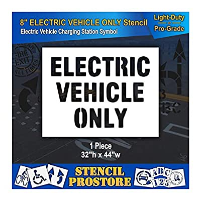 Pavement Stencils - 8 in - Electric Vehicle ONLY Stencil - 32'' x 44''
