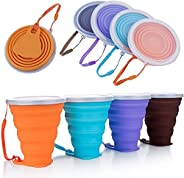 ME.FAN Silicone Collapsible Travel Cup - Silicone Folding Camping Cup with Lids - Expandable Drinking Cup Set