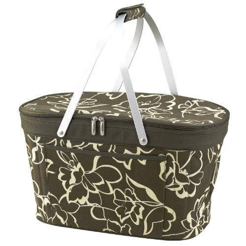 Picnic at Ascot Collapsible Insulated Basket in Olive Floral