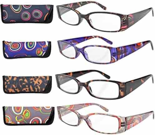 c9ad758edf1 Eyekepper Geometric Temples Spring Hinge Plastic Reading Glasses (4 Pack  Mix) Women +2.0