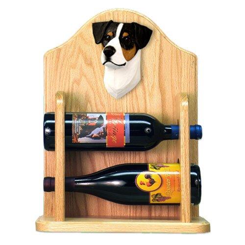 Michael Park TRI Parson Russell Terrier Wine Rack 2 Bottle-Light Oak