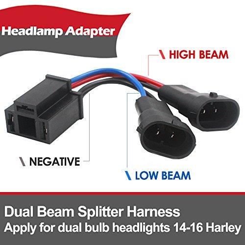 Belt&Road Dual Beam Headlight Splitter Harness Adapter For Harley Road Glide Street Glide,H4 Splitter Harness for Dual Beam Headlights H4 to H9/H11 King Harness