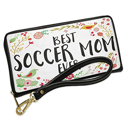Wallet Clutch Happy Floral Border Soccer Mom with Removable Wristlet Strap Neonblond
