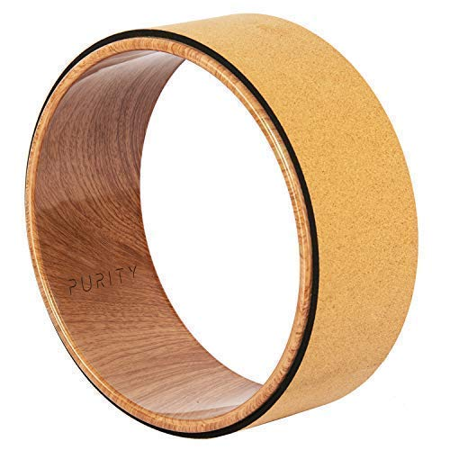 Purity Wave Cork Yoga Wheel - Eco-Friendly, Strong and Most Comfortable Dharma Yoga Prop Wheel, Perfect for Stretching and Improving Backbends, 12.5 x 5.1 Inch, Instructional Booklet Included