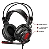 Etekcity H7PX+ Gaming Headset 7.1 Channel Virtual Surround Sound Noise Isolation Stereo Over-ear USB headphones Headset with Microphone for PC/MAC(Black/Red)