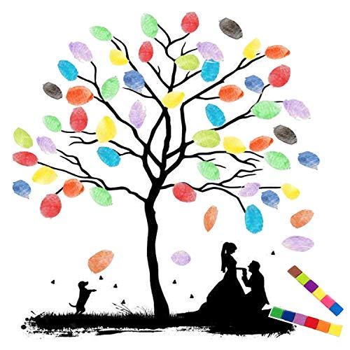 Thickening Waterproof Fingerprints Tree, 23.6'' Creative DIY Guest Signature Sign-in Book Canvas Fingerprints Tree Painting for Wedding Birthday Party with 12 PCS Ink Pads (Bride & Groom)
