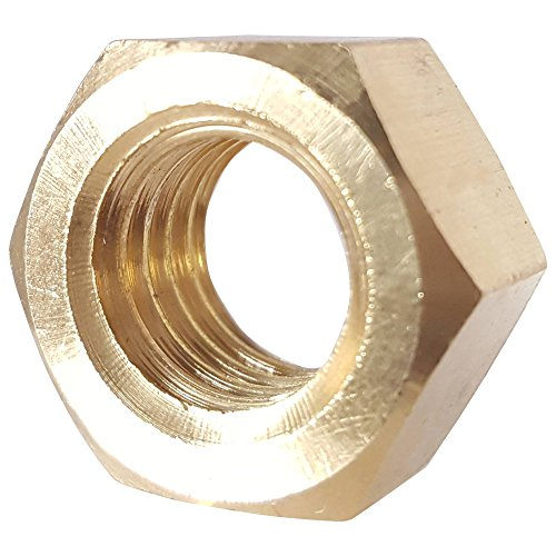 1/4-20 Full Finished Hex Nuts, Solid Brass, Grade 360, Plain Finish, Quantity 50