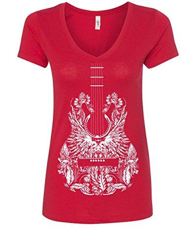 Bandana Guitar Women's V-Neck T-Shirt Music Rock & Roll Legend Rock Star Red M