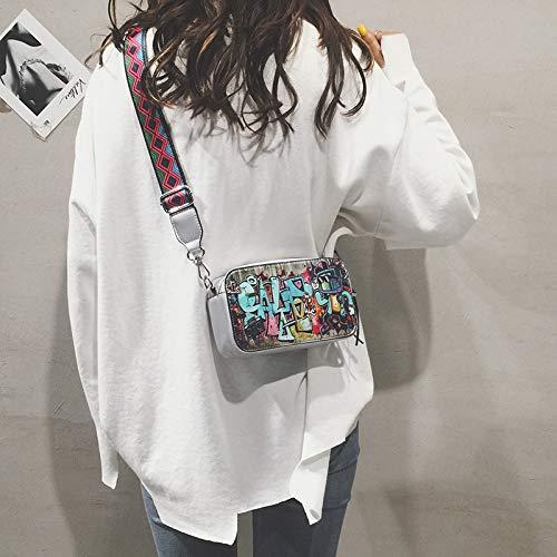 Bolsa Bolsa láser Mujer Transparente de Retro Paquete Bolso Carta Cuadrada Contraste de Color gelatina Tendencia de pequeña impresión Lentejuela Costura qwg7AE