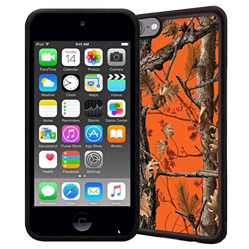 iPod Touch 6 Case, iPod Touch 5 Case, ABLOOMBOX(TM) Scratch Resistant Flexible Bumper TPU Rubber Soft Skin Silicone Protective Case Cover - Orange Hunting Camo Fabric Camouflage