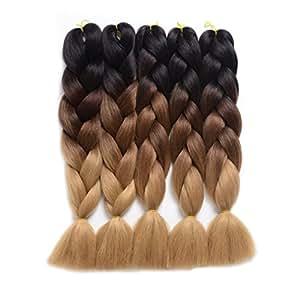 "Ding Dian Synthetic Braiding Hair Extensions Kanekalon Hair Ombre Twist Braiding Hair High Temperature Hair Extensions 5Pcs/Lot 100g/Pc 24"" (60CM) (24"", Black-dark brown-light brown)"