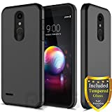LG K30, LG Harmony 2, LG Phoenix Plus, LG Premier Pro, LG Xpression Plus, LG K10 2018 Case, with Full Cover Tempered Glass Screen Protector, ATUS Hybrid Dual Layer Protective TPU Case (Black)
