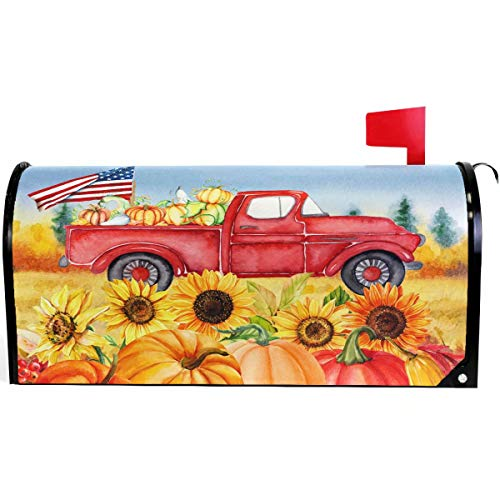(Wamika Autumn Fall Thanksgiving Pumpkin Red Truck Mailbox Cover Magnetic Oversized, Sunflower American Flag Letter Post Box Cover Wrap Decoration Welcome Home Garden Outdoor 25.5