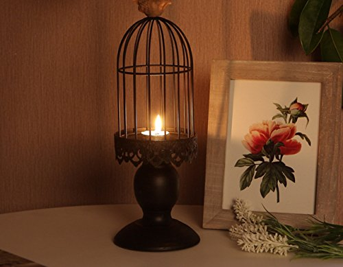 HOMEE European Birdcage Candlestick Vintage Iron Decoration Wedding Atmosphere Decoration Decoration Gifts Candlelight Dinner Props,Black,11 11 31cm by HOMEE