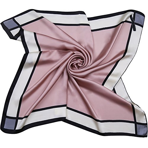 SOJOS Silk Scarf Women's Large Square Satin Neck Scarf Hairscarf 27.5 x 27.5 inches SC303 with Red Bowknot