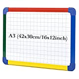 SwanSea A3 Magnetic Whiteboard Double Sided Dry Wipe Planning Boards for School with Grid, 40 x30cm
